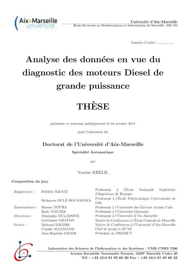 These-Analyse des données en vue du diagnostic des moteurs Diesel de grande puissance - Yassine Khelil -Aix-Marseill III